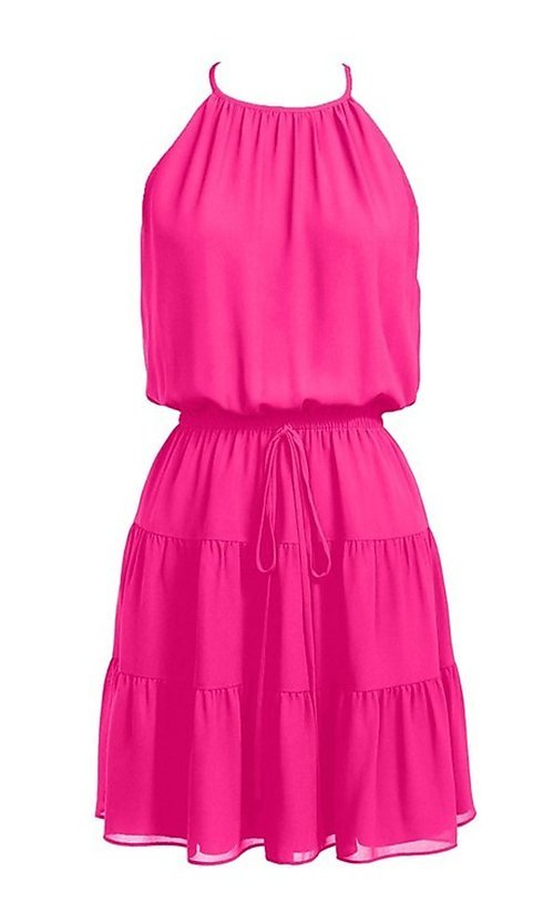 Image of casual short high-neck summer dress. Style: FG-NZB-21-SD115622 Detail Image 3