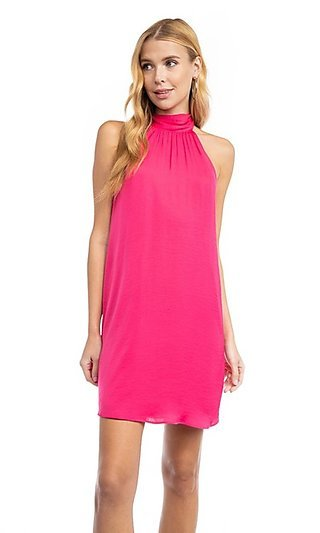 Bright Pink High-Neck Short Shift Party Dress