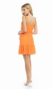 Image of shoulder-tie short casual bright summer dress. Style: FG-NZB-21-SD114262 Detail Image 4
