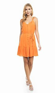 Image of shoulder-tie short casual bright summer dress. Style: FG-NZB-21-SD114262 Detail Image 5