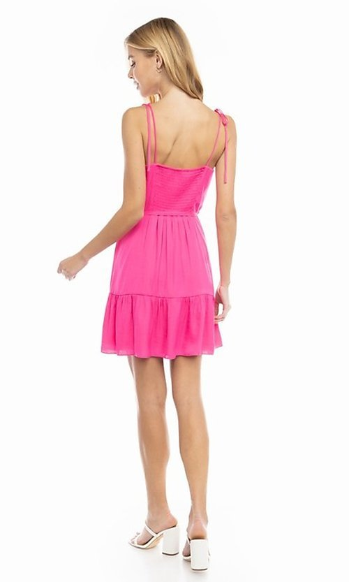 Image of shoulder-tie short casual bright summer dress. Style: FG-NZB-21-SD114262 Back Image