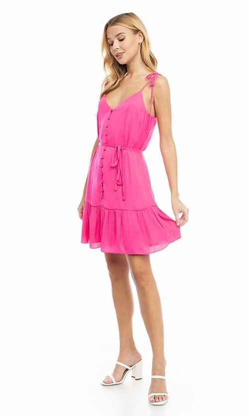 Image of shoulder-tie short casual bright summer dress. Style: FG-NZB-21-SD114262 Detail Image 1