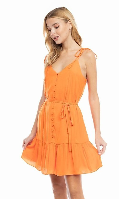 Image of shoulder-tie short casual bright summer dress. Style: FG-NZB-21-SD114262 Detail Image 3