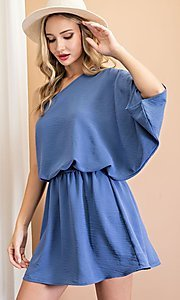 Image of one-shoulder casual short party dress. Style: LAS-EES-21-DG54178 Detail Image 2