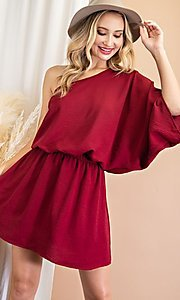 Image of one-shoulder casual short party dress. Style: LAS-EES-21-DG54178 Front Image