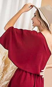 Image of one-shoulder casual short party dress. Style: LAS-EES-21-DG54178 Detail Image 4