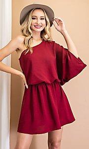 Image of one-shoulder casual short party dress. Style: LAS-EES-21-DG54178 Detail Image 5