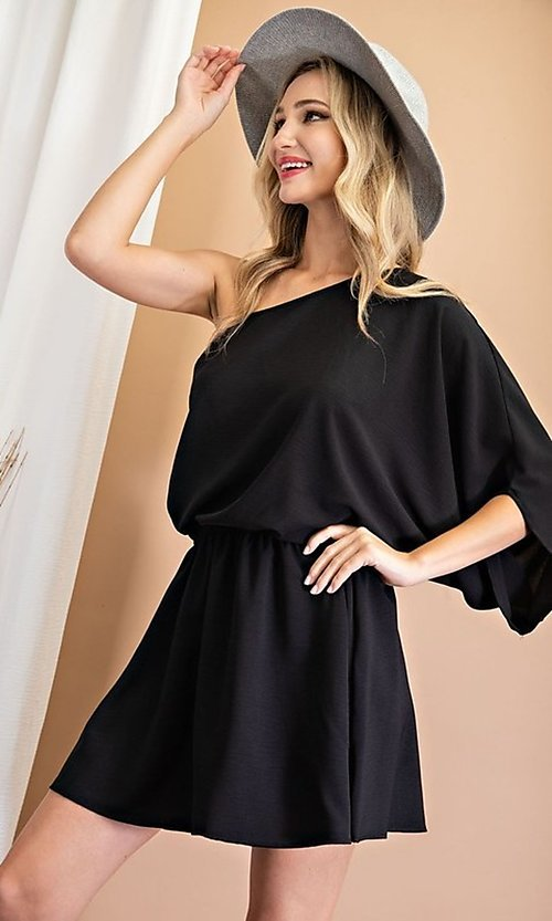 Image of one-shoulder casual short party dress. Style: LAS-EES-21-DG54178 Detail Image 1