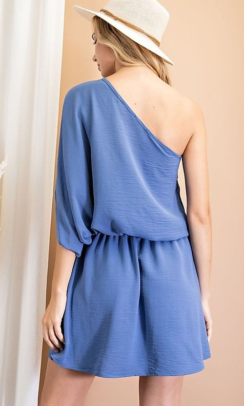 Image of one-shoulder casual short party dress. Style: LAS-EES-21-DG54178 Detail Image 3