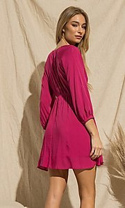 Image of magenta pink short casual long-sleeve party dress. Style: FG-BNB-21-PGBD49785A Back Image