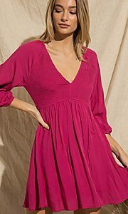 Image of magenta pink short casual long-sleeve party dress. Style: FG-BNB-21-PGBD49785A Detail Image 1