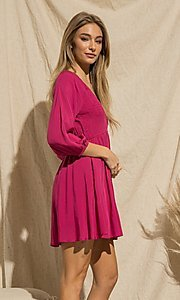 Image of magenta pink short casual long-sleeve party dress. Style: FG-BNB-21-PGBD49785A Detail Image 2