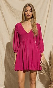 Image of magenta pink short casual long-sleeve party dress. Style: FG-BNB-21-PGBD49785A Detail Image 3