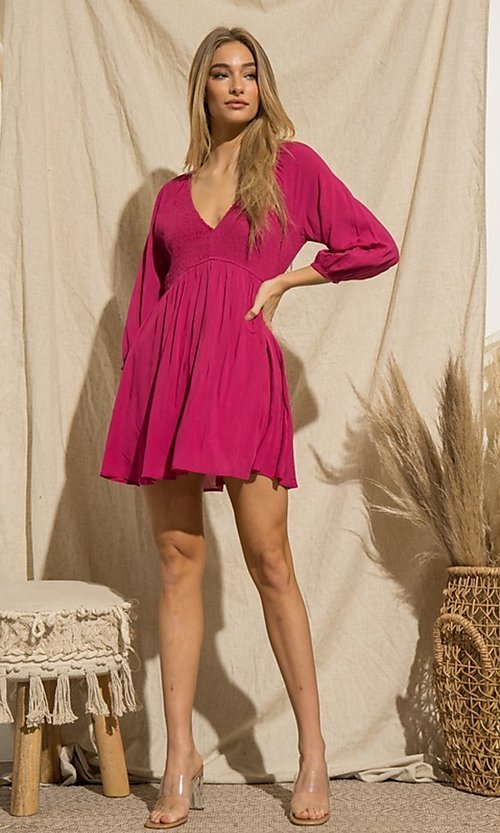 Image of magenta pink short casual long-sleeve party dress. Style: FG-BNB-21-PGBD49785A Front Image
