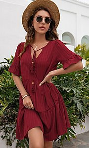 Image of short casual a-line half-sleeve summer dress. Style: FG-LIL-21-CWDSD0707 Front Image