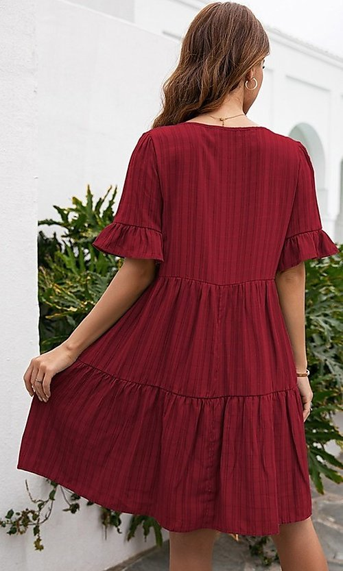 Image of short casual a-line half-sleeve summer dress. Style: FG-LIL-21-CWDSD0707 Back Image