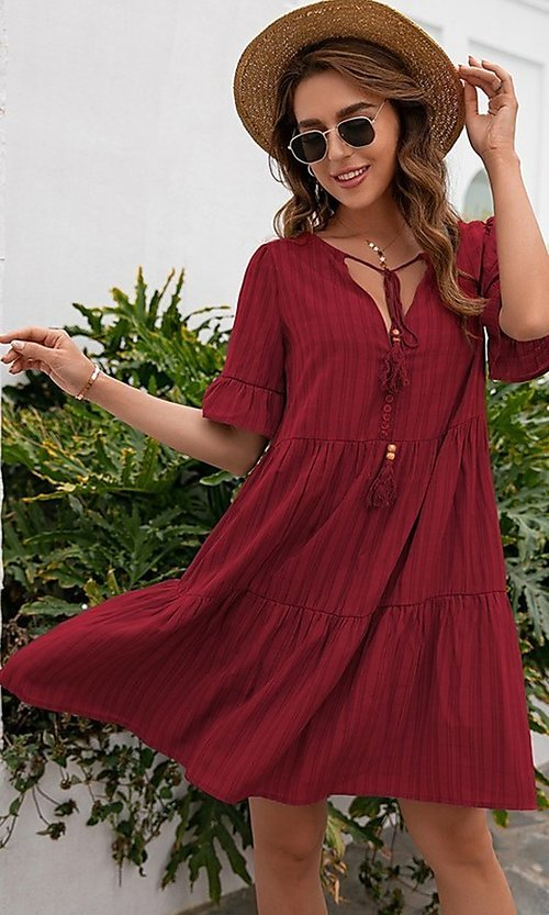 Image of short casual a-line half-sleeve summer dress. Style: FG-LIL-21-CWDSD0707 Detail Image 1