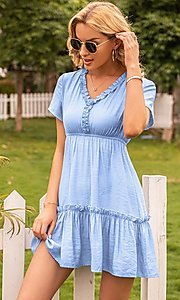 Image of light blue short v-neck casual party dress. Style: FG-LIL-21-CWDSD0694 Detail Image 1