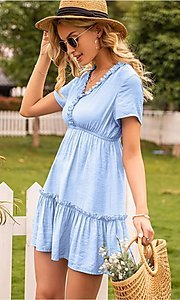 Image of light blue short v-neck casual party dress. Style: FG-LIL-21-CWDSD0694 Detail Image 2