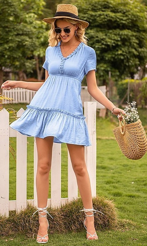 Image of light blue short v-neck casual party dress. Style: FG-LIL-21-CWDSD0694 Front Image