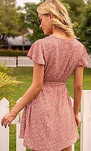 Image of short casual print summer dress with short sleeves. Style: FG-LIL-21-CWDSD0693 Back Image