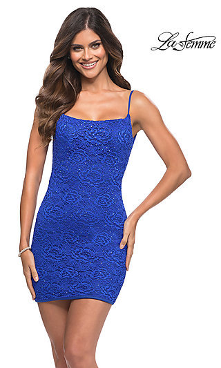 Floral-Lace Tight La Femme Short Homecoming Dress