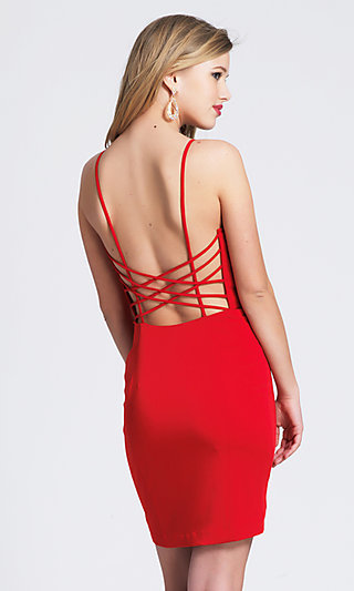 Short Red Strappy Statement-Back Homecoming Dress