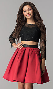Image of two-piece long-sleeve short homecoming dress. Style: NA-21-6371 Detail Image 2