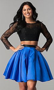 Image of two-piece long-sleeve short homecoming dress. Style: NA-21-6371 Front Image