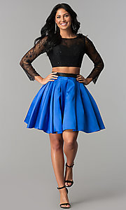 Image of two-piece long-sleeve short homecoming dress. Style: NA-21-6371 Detail Image 1