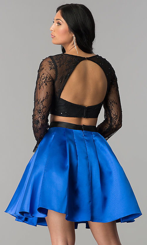 Image of two-piece long-sleeve short homecoming dress. Style: NA-21-6371 Back Image