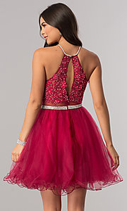 Image of mock-two-piece homecoming dress with sheer waist. Style: DQ-21-2033 Back Image