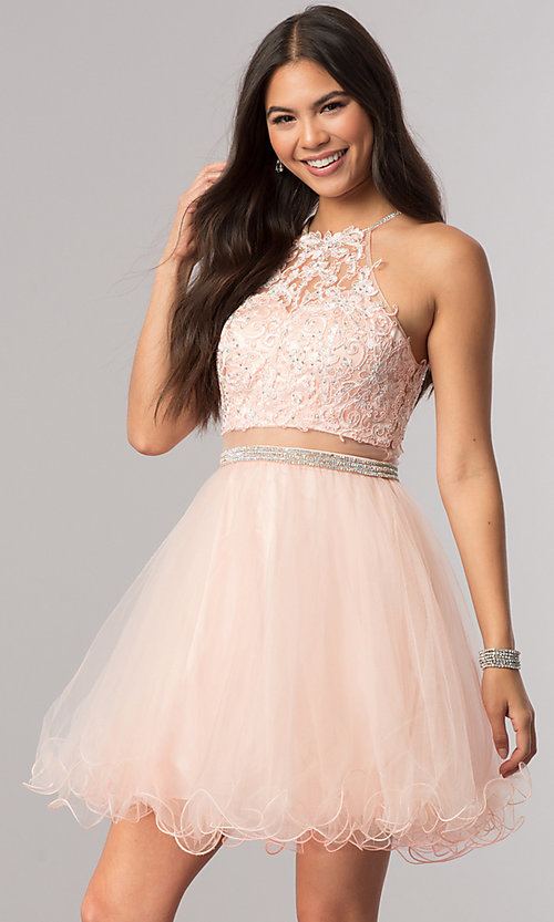 Image of mock-two-piece homecoming dress with sheer waist. Style: DQ-21-2033 Detail Image 2