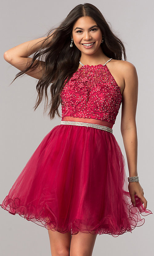 Image of mock-two-piece homecoming dress with sheer waist. Style: DQ-21-2033 Front Image