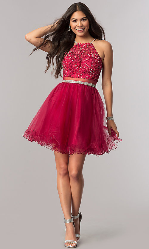 Image of mock-two-piece homecoming dress with sheer waist. Style: DQ-21-2033 Detail Image 1