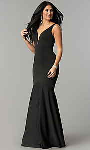 Image of long v-neck mermaid prom dress with drop waist. Style: DQ-21-2186 Detail Image 1