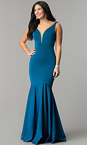 Image of long v-neck mermaid prom dress with drop waist. Style: DQ-21-2186 Front Image