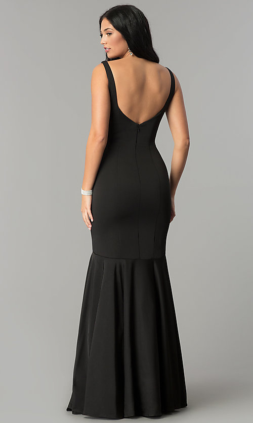 Image of long v-neck mermaid prom dress with drop waist. Style: DQ-21-2186 Back Image