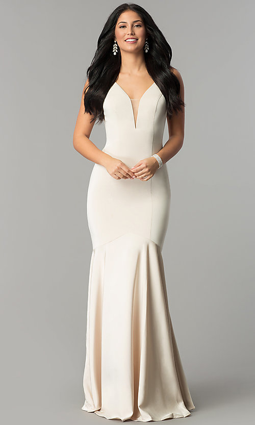 Image of long v-neck mermaid prom dress with drop waist. Style: DQ-21-2186 Detail Image 3
