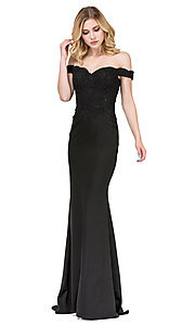 Image of off-the-shoulder mermaid prom dress with train. Style: DQ-21-2562 Detail Image 2