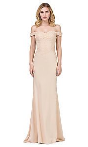 Image of off-the-shoulder mermaid prom dress with train. Style: DQ-21-2562 Detail Image 4