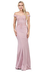 Image of off-the-shoulder mermaid prom dress with train. Style: DQ-21-2562 Front Image