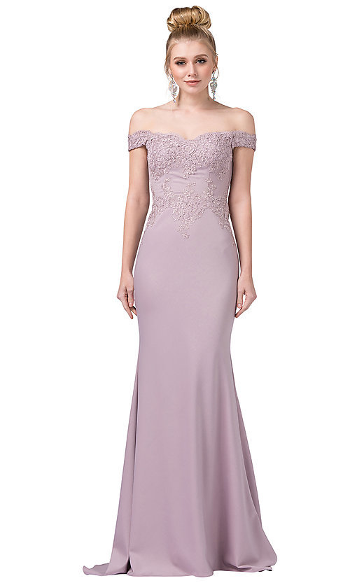 Image of off-the-shoulder mermaid prom dress with train. Style: DQ-21-2562 Detail Image 1