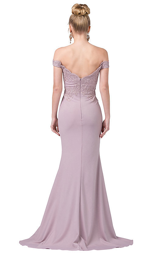Image of off-the-shoulder mermaid prom dress with train. Style: DQ-21-2562 Back Image