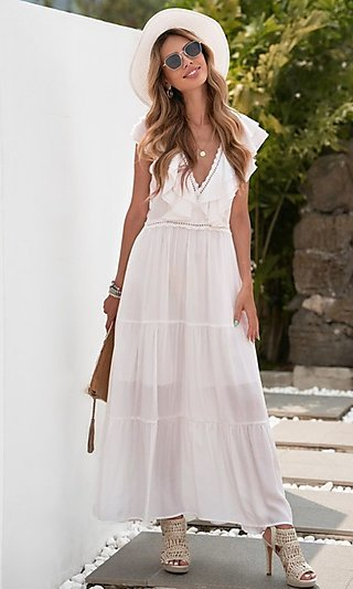 Long White Summer Maxi Dress with Cap Sleeves