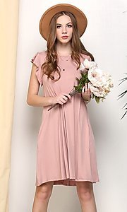 Image of light mauve pink short casual party dress. Style: FG-NXS-21-CWDSD512-1C Front Image