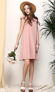 Image of light mauve pink short casual party dress. Style: FG-NXS-21-CWDSD512-1C Detail Image 1