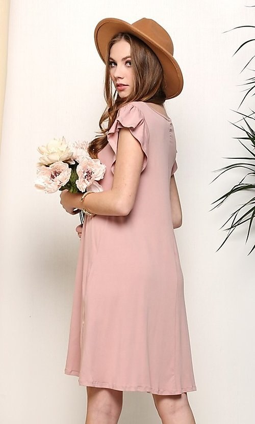 Image of light mauve pink short casual party dress. Style: FG-NXS-21-CWDSD512-1C Back Image