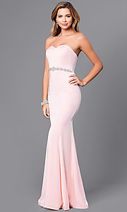 Image of strapless long mermaid prom dress with beaded waist. Style: DQ-21-9720 Detail Image 3