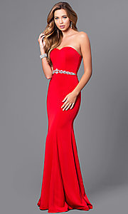 Image of strapless long mermaid prom dress with beaded waist. Style: DQ-21-9720 Detail Image 1